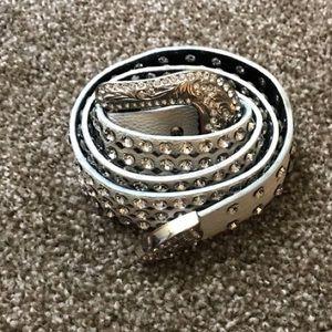 White Buckle Brand Genuine leather belt